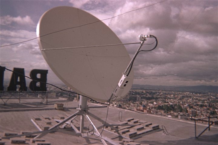 VSAT Satellite Dish Equipment Installation Bogota Colombia Banco De Colombia Mark Erney Satellite Communications East Pictures 2